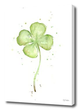 Four Leaf Clover Lucky Charm Watercolor