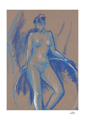Blue Girl with Gymnastic Circle, Nude Sketch