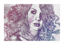 Wake: Red & Blue | maple leaves tattoo woman portrait