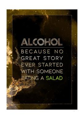 Alcohol Eating a Salad Gold Motivational