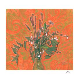 Green & Orange, Wildflowers Bouquet, Summer Botanical