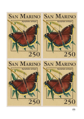 San Marino butterflies post stamp collage