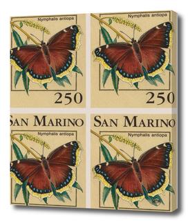 San Marino butterflies post stamp collage
