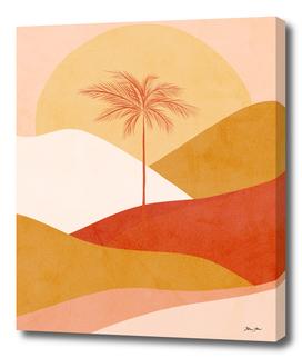 Peachy Tropical Palm Sunset