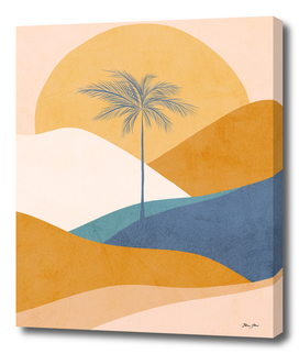 Golden and Blue Tropical Palm Sunset