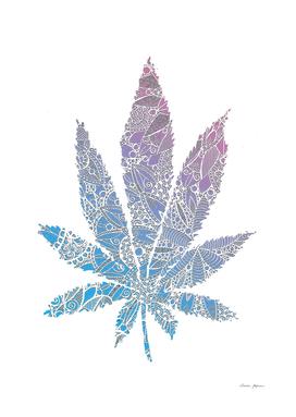 Blue and Pink Mandala Pattern Cannabis Leaf