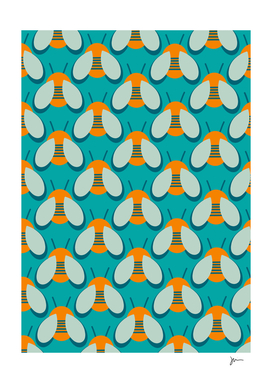 Bees Please - Retro Bee Pattern in Orange and Aqua