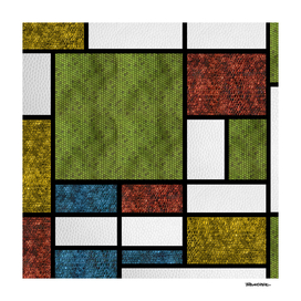 Mondrian in a Snake Style Pillow