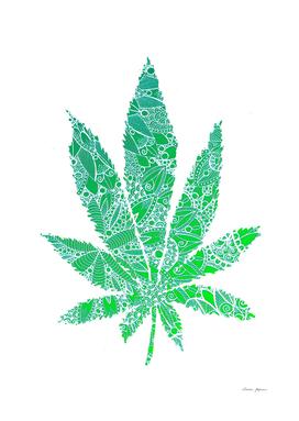 Green Mandala Cannabis Leaf