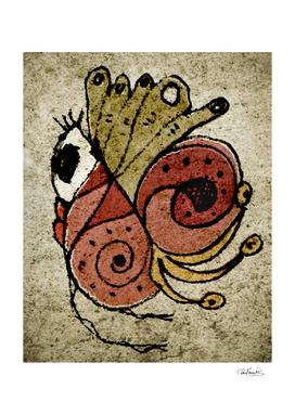 Fantasy Cute Bird Textured Drawing