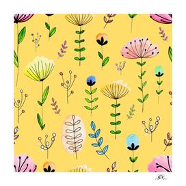 watercolor cute little flowers with elegent pattern