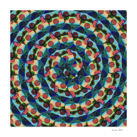 Beach House with Geometric Overlay Spiral Pattern