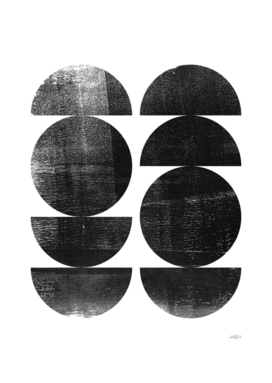 Black and White Mid Century Modern Circles Abstract