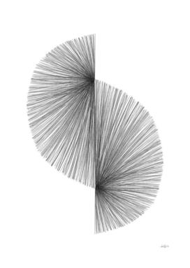 Mid Century Modern Geometric Abstract S Shape Line Drawing