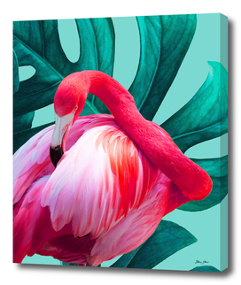 Pink Pop Flamingo on Teal Monstera Collage