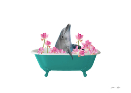 Dolphin in Bathtub with Lotos Flowers