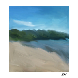 Abstract beach digital painting
