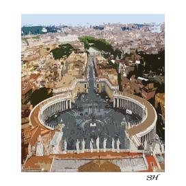 Digital painting vatican city