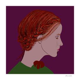 Redhead on Purple