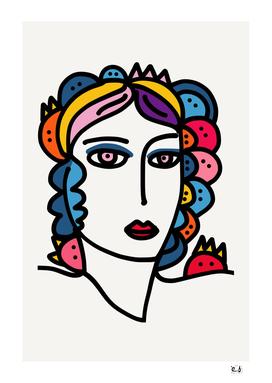 Minimal Line Art Portrait of a Woman