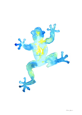Blue Watercolor Frog