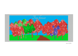 Art Painting of Red and Green Trees Forever