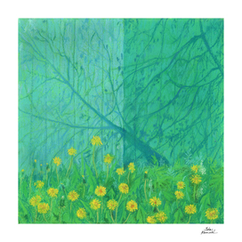 Shadows and Dandelions, Pastel Painting, Impressionism