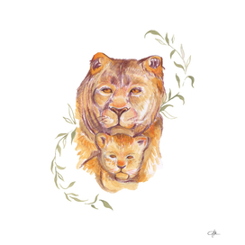 Baby Lion With Mommy Lion