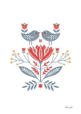 Scandinavian Folk Art - Birds & Flowers
