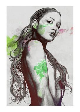 Cleansing Undertones: Acid Green | zentangle nude portrait