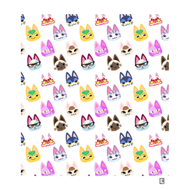 animal crossing cute cats pattern