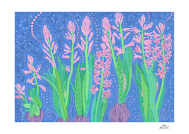 Pink Hyacinths, Spring Flowers, Floral Painting