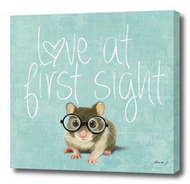 Love at first sight. Small mouse in love.