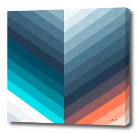 Abstract Retro Chevrons - Blue & Peach