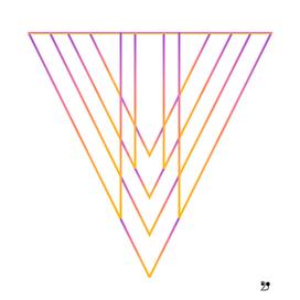 Orange pink triangle linear abstract geometric