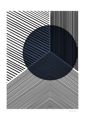 Navy Geometric Line Drawing