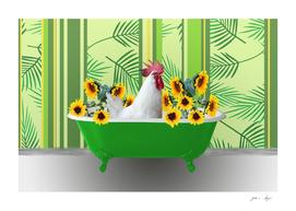 Green Bathtub chicken Sunflower