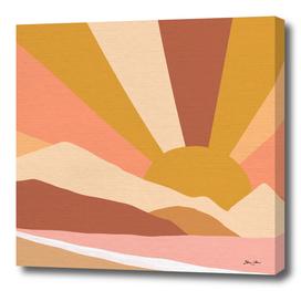 Golden Rainbow Sunset - Earthy Retro