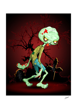 Zombie Creepy Monster Cartoon on Cemetery