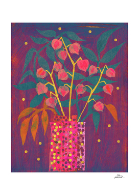 Chinese Lanterns / Physalis Abstract Floral Neon