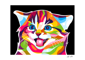 The Colorful Funny Cat Portrait