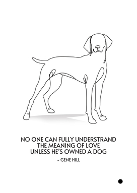 Line art dog with qoute