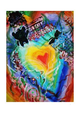 Rainbow heart of faith