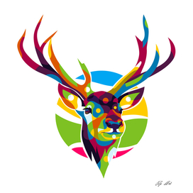 The Colorful Deer with Two Horns