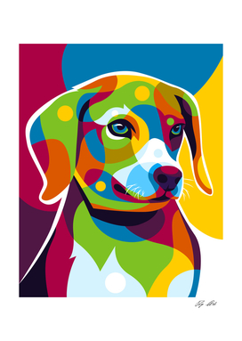 The Colorful Little Puppy Pop Art Style
