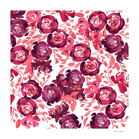 Wine Red Roses Floral Pattern