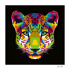 The Colorful Leopard Head WPAP Style