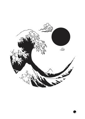 Minimalistic Waves Japanese Art Style
