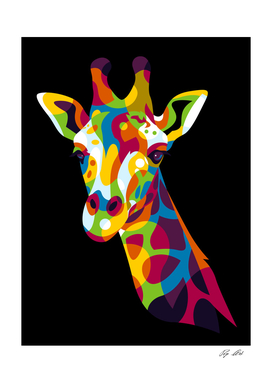 The Colorful Giraffe Head Pop Art Portrait