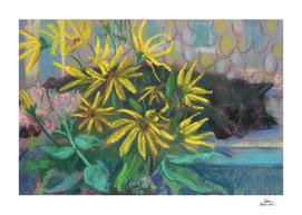 Topinambur Dream, Black Cat & Yellow Flowers
